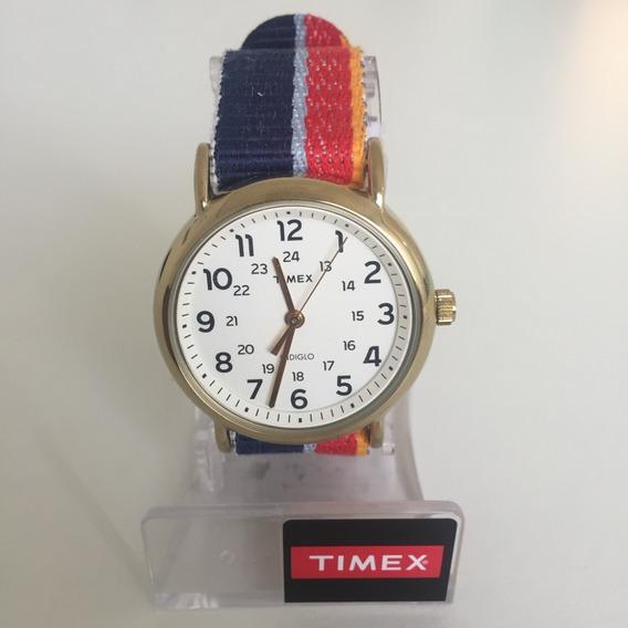 Relogio Timex Indiglo Pulseira Azul Vermelha Amarela
