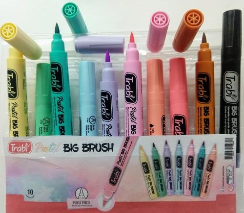 Marcadores Punta Pincel Trabi  X 10 Unid, Pastel Big Brush