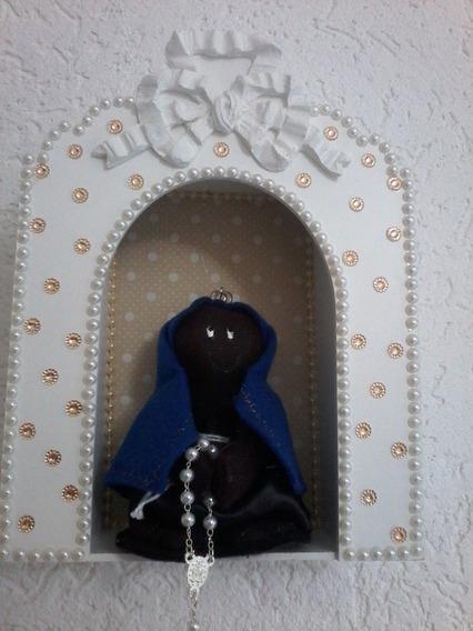Capelinha Oratório Branco Com Mini Nossa Senhora Aparecida
