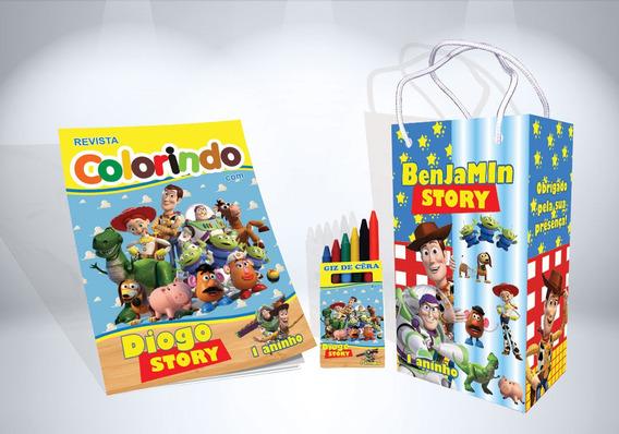 30 Kit De Colorir Toy Story Revista Sacola Giz Lembrança