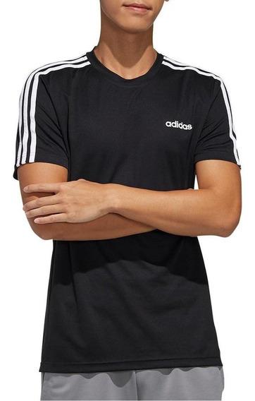 Remera adidas Remera D2m 3 Stripes Negro/blanco - Hombre