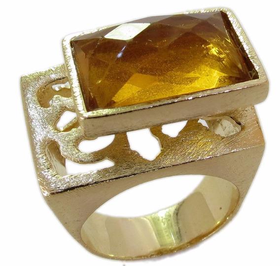 Anel Folheado A Ouro 18k Quartzo Green Gold 10 Mícrons Ouro