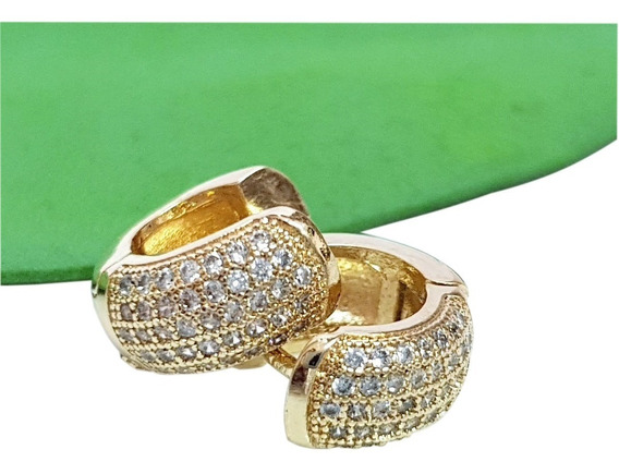 Brinco Masculino Cristal Brilhante Argola Banhado Ouro 18k
