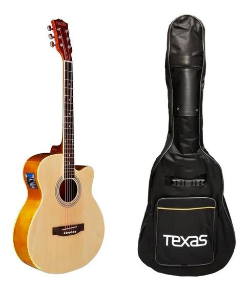 Guitarra Electro Acustica Texas Ag10 Eq Afinador Funda
