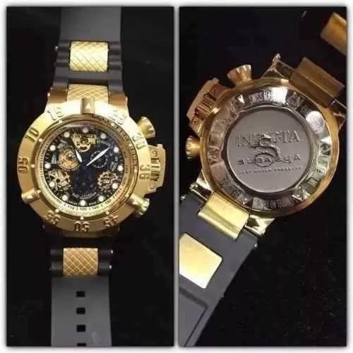 Relógio Pa1098 Invicta 18526 Noma 3 Pulseira Borracha Ouro