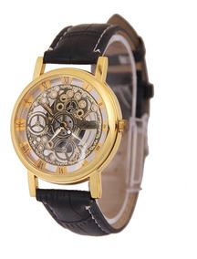 Relógio Barato Masculino Feminino Esqueleto Pulseira Couro