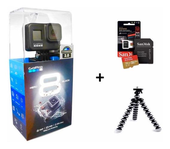 Câmera Digital Gopro Hero 8 Black 4k+sd 32 Gb+tripé Com Nf-e