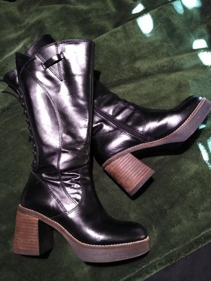Botas De Dama Cuero Nuevas!!!