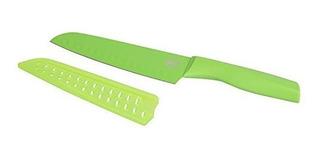 Cuchillo Santoku Ilko Color Verde 18 Cm Con Funda De Silicón