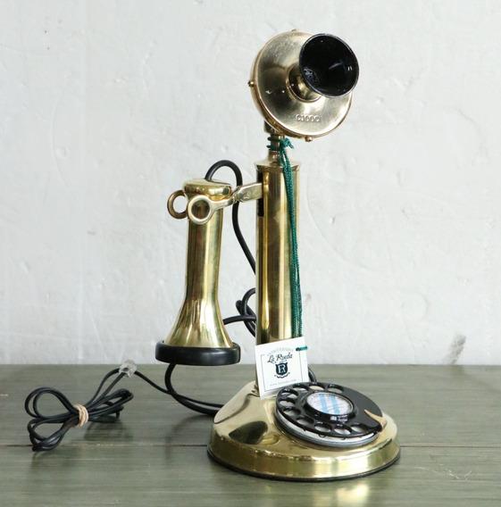 Teléfono Candelero Dorado Bronce Tel - Antig La Rueda _ L R