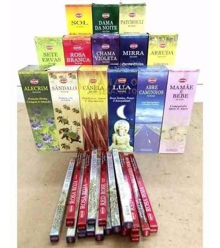 Incenso Hem Box C/ 25 Caixas De 8 Varetas 5 Aromas Por Box