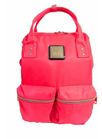 Bolso Mochila Juvenil Coral Casual Laptop Tablet Mujer Lluvi