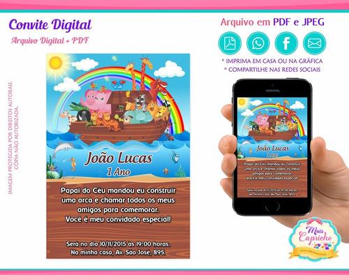 Imagem 1 de 1 de Convite Digital Arca De Noé - Arte - Mod. 01