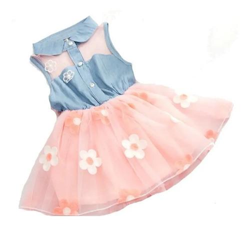 Imagem 1 de 7 de Vestido Infantil Menina Festa De Brim Com Tule Florido