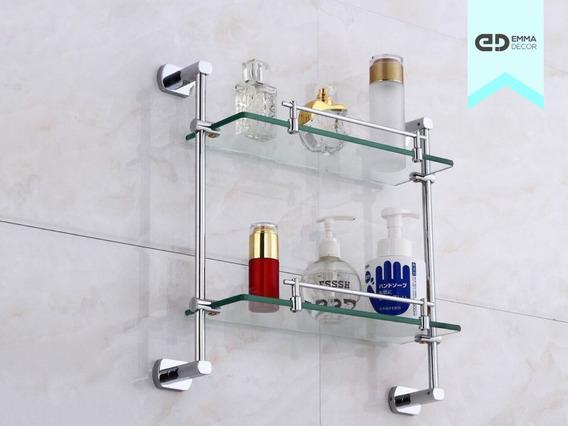 Porta Shampoo Duplo Metal E Vidro - Cromado - Emma Decor