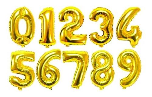 Globos Metalizados De Números Dorado 40cm