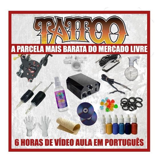 Kit Tattoo Completo Profissional C/ Vídeo Aula De Tatuagem