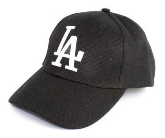 Boné La Dodgers Masculino Preto Bordado Branco Ajustável