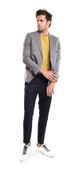 Saco Hombre Cruzado Estampado Lineas Finas Color Gris Lob