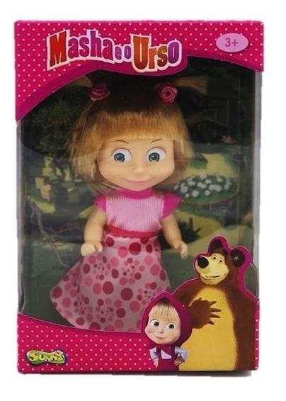 Boneca Masha E O Urso Masha Com Vestido Rosa 13 Cm Rosa