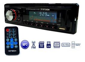 Som Carro Auto Radio Fm Usb Mp3 Pen Drive Cartao Sd Aux P2