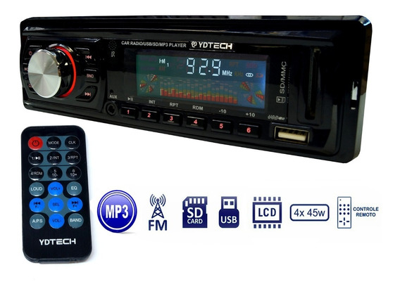 Som Carro Auto Radio Fm Usb Mp3 Pen Drive Cartao Sd Aux P2