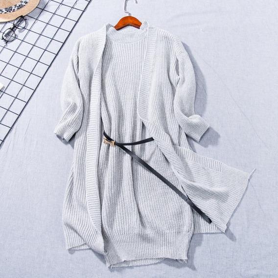 Conjunto Feminino Tricô Vestido Cardigan Cinto Elegante Blog