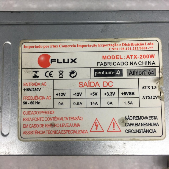 Fonte Flux Model:atx-200w 24pinos Sata Nominal Atx