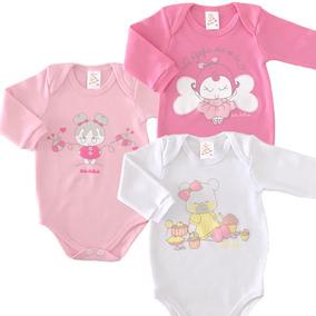 49fca5844 Body Manga Longa Bicho Molhado Menina C/3 Infantil Bebê