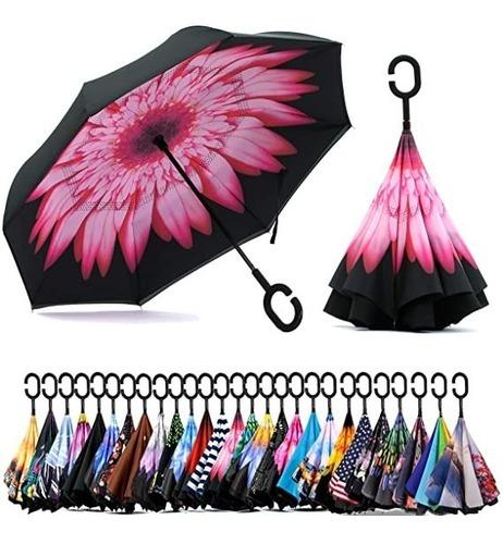 Imagen 1 de 5 de Paraguas Invertido Doble Capa Varios Colores Sombrilla
