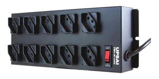 Extensão / Régua / Filtro De Linha - 10 Tomadas Profissional Bivolt 110v Ou 220v Cor Preto Metal Iso 9001