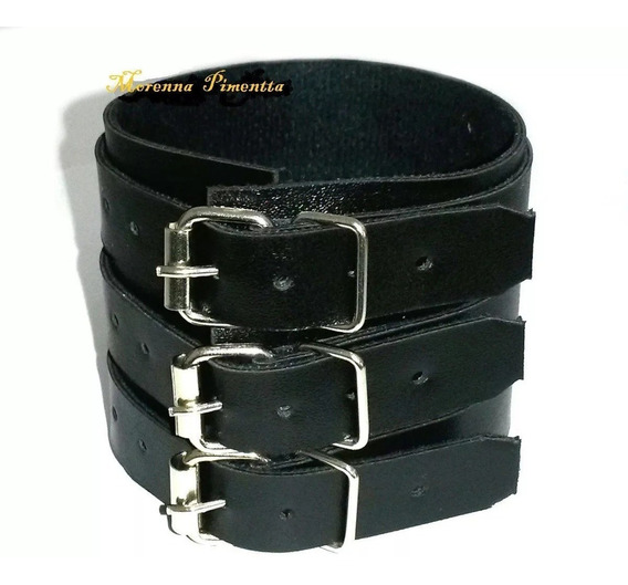 Bracelete Pulseira De Couro 3 Fivelas Punk Rock Ref: 362