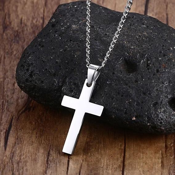 Colar Corrente Cruz Crucifixo Metal Prata Preto Dourado Azul