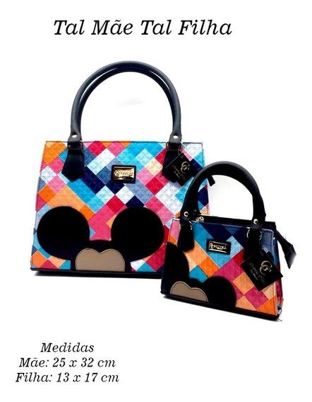 Bolsa Feminina Mickey + Infantil Couro Ecologico Disney