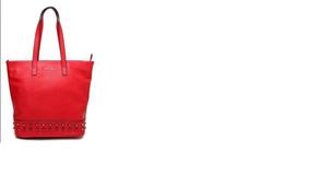 Bolsa Tote Via Uno Spikes Vermelha Usada 1 X