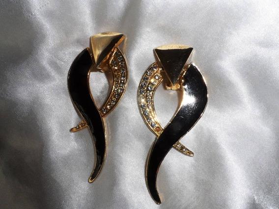 Lindo,elegante Par Maxi Brincos Banho Ouro/cristais,déc.90