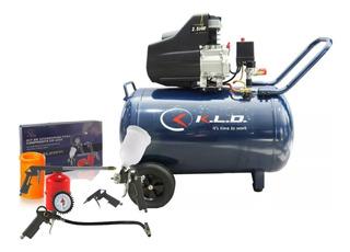 Compresor De Aire Kld 100 Lts 2,5hp Portatil Con Herramienta