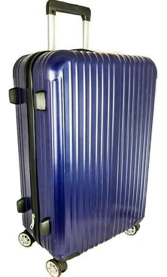 Mala De Viagem Grande Fibra Policarbonato Cadeado Azul Linda