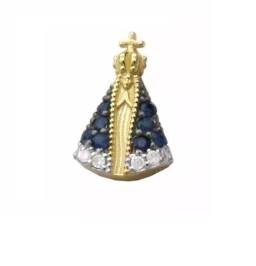Pingente Nossa Senhora Aparecida Ouro Maciço Safiras Nat J03