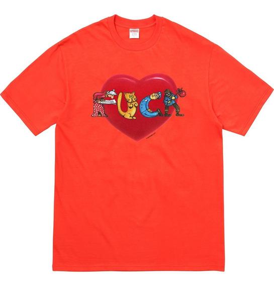 Playera Supreme - Fuck Love - Talla L (orange)