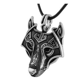 Colar Hippie Viking Nórdico Amuleto Cabeça Lobo Titânio Inox