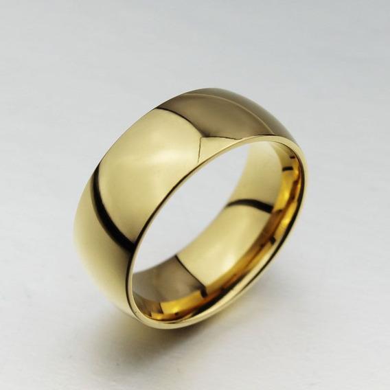 Aliança Anel Com 1 Banho De Ouro 18k Aço Inox Noivado Barata