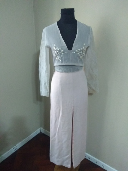Vestido De Fiesta/casamiento Rosa/lila Bordado