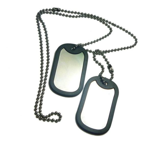 Colar Plaqueta De Identificação Militar Dog Tag. - Aço.