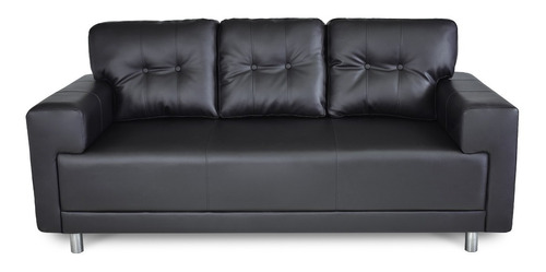Sofá 3 Puestos Montreal Cuero Sintético Negro