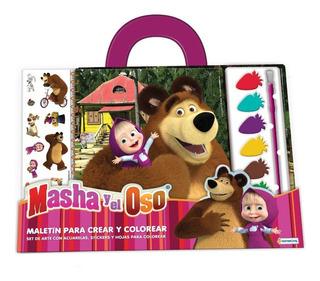 Set Coloreo C/ Acuarelas Masha Y El Oso Stickers Arte Pintar
