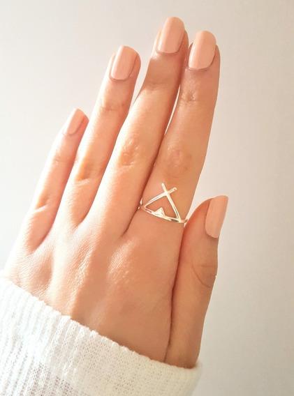Anillo Triángulo Vx Carpa India De Plata 925