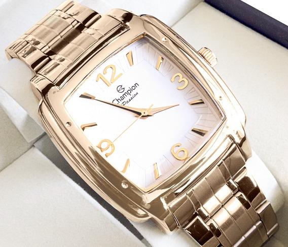 Relógio Champion Feminino Quadrado Dourado Original Barato