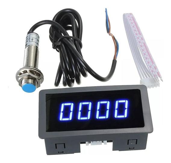 Tacômetro Rpm Digital Lcd Com Sensor 8-24vdc Painel