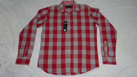 Camisa Gambossino Hombre Talla 40 Cuadros Rojo Gris Vaquero